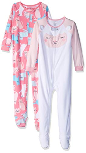 Carter's Girls' Toddler 2-Pack Fleece Pajamas, Lamb/Cats, 3T