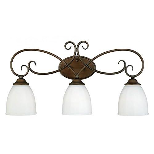 85%OFF Vaxcel W0084 Claret 3-Light Vanity Light, Venetian Bronze