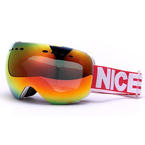 SE7VEN Lunettes De Ski Professionnel,Unisexe Lentille Double Couche Anti-buée Des Lunettes De Protection Ultra Wide-ange Sphérique Panoramique Snowboard Goggle Otg C