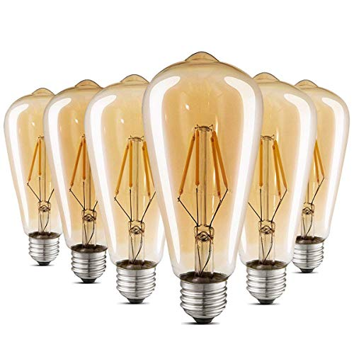 LED Edison Bulb Dimmable Amber Warm 2700K Antique Vintage Style Filament Light Bulbs 40W Equivalent E26 Base 6-Pack by LUXON - Match Chandelier Shade