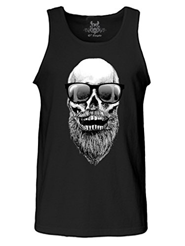 Gs-eagle Men's M003TS Printed Skull with Beard and Sunglasses Hipster Tank Top Large Black