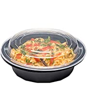 Asporto Microwavable to-Go Container - BPA Free PP Round Take Out Food Container with Clear Plastic Lid - Catering & Takeout - 16 oz - Black - Plastic - Disposable - 100ct Box - Restaurantware
