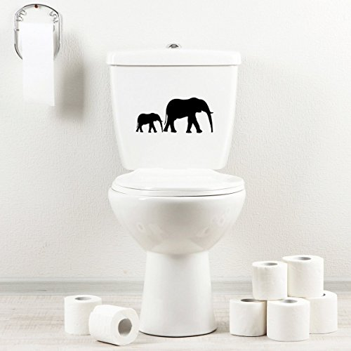 StickAny Bathroom Decal Series Elephant Silhouette Sticker for Toilet Bowl, Bath, Seat (Black)