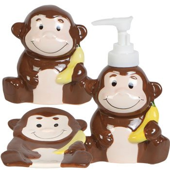 Greenbriar Kids Jungle Friends Stoneware Bathroom Accessories (Monkey) by Greenbriar