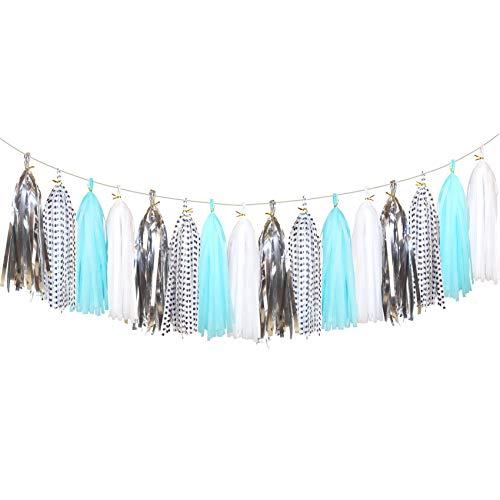 (20 pcs Sparkly Tissue Paper Tassels - Paper Tassels Garland Banner for Baby Shower, Wedding, Bachelorette Party (Polka Dots, Light Blue, White, Metallic Silver))