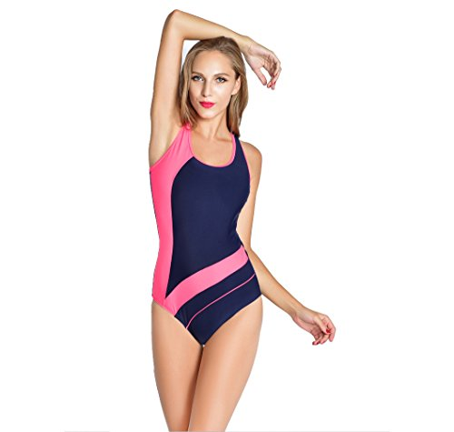 Topda123-Womens Athletic Backless Splice One Piece Swimsuit (XL, Red)