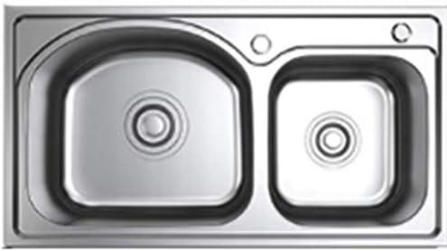 流し台シンク ステンレススチールレストランプール/食器洗い機用ホームキッチン/ラウンドレストランクリエイティブボウル/ダブルボウル大容量 (Color : Round, Size : 78*43cm)