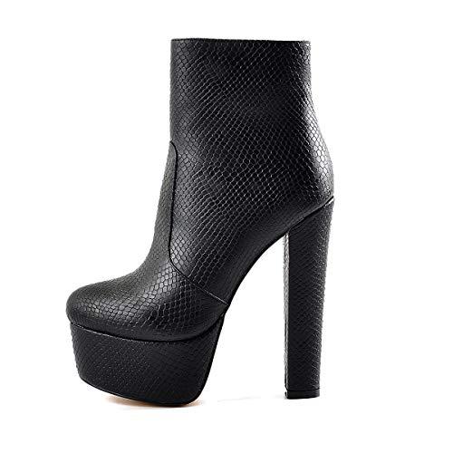 Yolkomo Women's Pointed Toe Platform Side Zipper High Chunky Heel Ankle Bootie