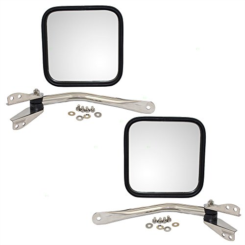 Driver and Passenger Manual Side View Chrome Mirrors Replacement for Jeep SUV Pickup Truck CH1320147 CH1321147 AutoAndArt