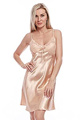 BellisMira Women's Satin Lace Full Slip Chemise Silk Nightgown Sleepwear