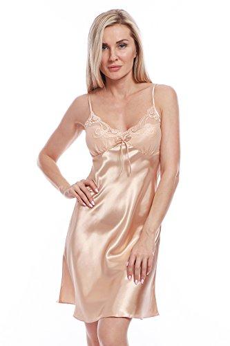 Charmeuse Lace Bra - BellisMira Women's Satin Lace Full Slip Chemise Silk Nightgown Sleepwear Champagne Gold, XL