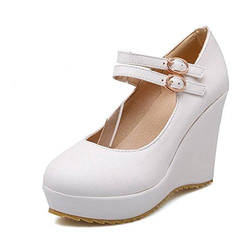 Solki Valkoinen Amoonyfashion Naisten kengät Suljetun Pumput Solid Korkokengät Ympäri Toe YzSwxrY