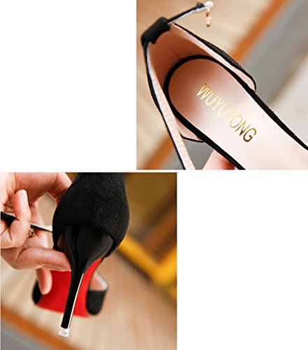 femmes et en Noir sexy à Noir Printemps mince 35 taille hauts strass Couleur été talons sandales chaussures LBDX chaussures pointues 5q6Fg