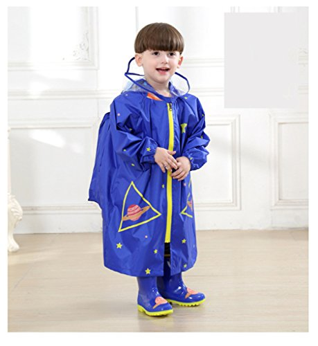 WYTbaby Kids Raincoats, Boys Girls Hooded Rain Poncho with School Bag Position,Blue by WYTbaby (Image #4)