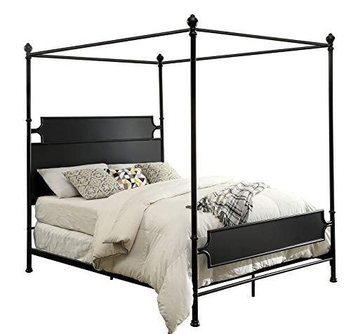 Benzara BM182964 Transitional Style Metal King Bed with Canopy, Black ()