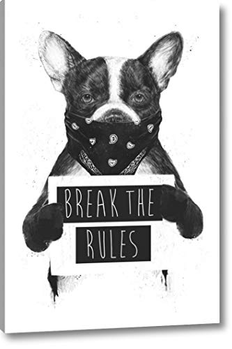 """Rebel Dog by Balazs Solti - 26"""" x 40"""" Gallery Wrapped Giclee Art Print on Canvas - Ready to Hang from Canvas Art USA"""
