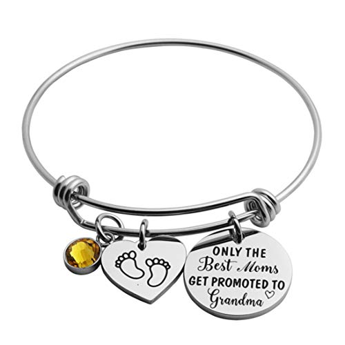 JINGMARUO Expecting Grandma Gift New Grandmother Expandable Bangle Bracelet Grandma to Be Gift (Only The Best Moms Get Promoted to Grandma)