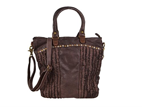 Billy the Kid Frilled borsa tote pelle 36 cm Cooffee