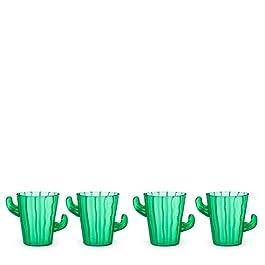True Zoo Cactus Shot Glasses, Holds 2 Ounces, Set of 4, Green, Novelty Succulent Party Shot Glasses for Cinco de Mayo