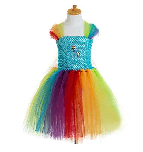My Little Pony Tutu Dress (Yuting Girls Summer My Little Pony Handmade Veil Birthday Party Tutu Dress Multi-color (4y, Multi))