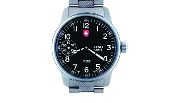 Amazon.com: Zeno Army S/C Fliegeruhr Manual Wind Ref. 6558 A-SV-MT: Watches