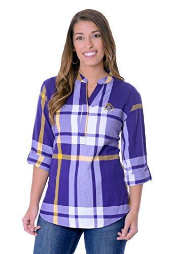 UG Apparel NCAA East Carolina Pirates Adult Women Plaid Tunic, X-Large, Purple/Gold - Carolina University Embroidery