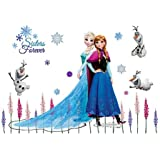 "Fangeplus R DIY Removable Frozen Anna, Elsa Olaf Art Mural Vinyl Waterproof Wall Stickers Kids Room Decor Nursery Decal Sticker Wallpaper 17.7"" X 25.9"""