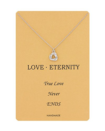 Geerier love Knot Pendent Wish Necklace With Message Card Best Gift (Knot)