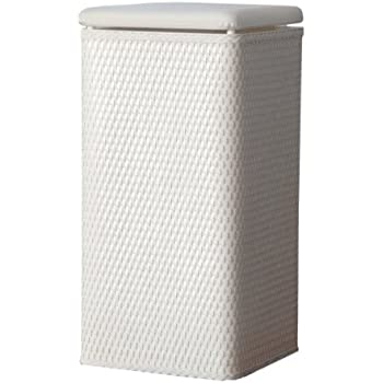 lamont home carter apartment wicker laundry hamper with padded vinyl lid white