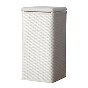 Lamont home carter apartment wicker laundry hamper with coordinating padded vinyl lid white - White wicker clothes hamper ...