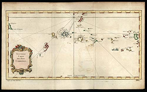 Caroline Islands Pacific Ocean chain 1761 decorative map lovely hand color