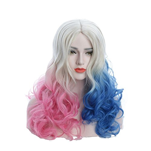 Karlery Women's Fluffy Pink and Blue Mixed Long Curly wig Halloween Costume Cosplay Wig