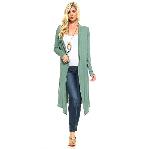 Issac Liev Isaac Liev Trendy Extra Long Duster Soft Cardigan (2X-Large, Light - Long Cardigan Summer