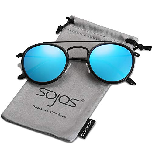 (SOJOS Small Round Polarized Sunglasses Double Bridge Frame Mirrored Lens SUNSET SJ1104 with Black Frame/Blue Mirrored Polarized Lens)