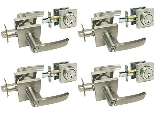 4 Sets Satin Nickel Square Plate Entry Entrance keyed Levers with Matching Single Cylinder Deadbolts Combo Keyed Alike 8048DC