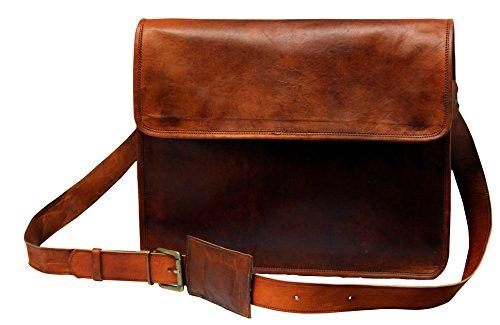 TLC Bolsa de 15pulgadas Piel Cuero Messenger Bag solapa cuero bolsa portátil bolsa crossbody bolsas para hombres y mujeres
