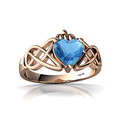 - 14kt Rose Gold Blue Topaz 6mm Heart Claddagh Celtic Knot Ring - Size 9