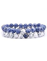 LUBINGSHINE 8mm Beaded Lava Stone Rock Diffuser Bracelet for Women Men Elastic Rope Yoga Agate Beads Bangle