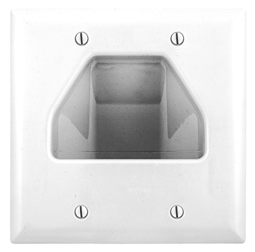 Bryant Electric NSAV2W 2-Gang Box Mount Recessed TV Connection Outlet Plate,  with Cable Pass-Thru, Nylon Wallplate, White