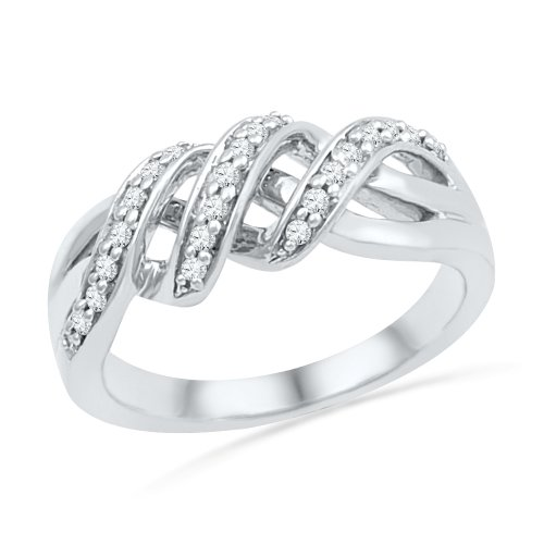 Sterling Silver Round Diamond Twisted Fashion Ring (1/5 cttw) by D-GOLD
