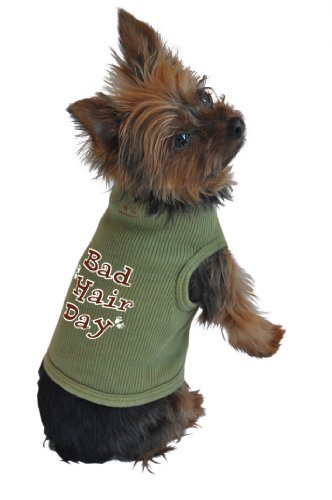 Just Woke Up Costume (Ruff Ruff and Meow Dog Tank Top, Bad Hair Day, Green, Small)