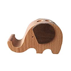 Chris.W Cute Creative Natural Wooden Cute Elephant Business Card Holder/Penholder/Cell Phone Stand for iPhone Samsung Tablet Plate PC Smart Phone