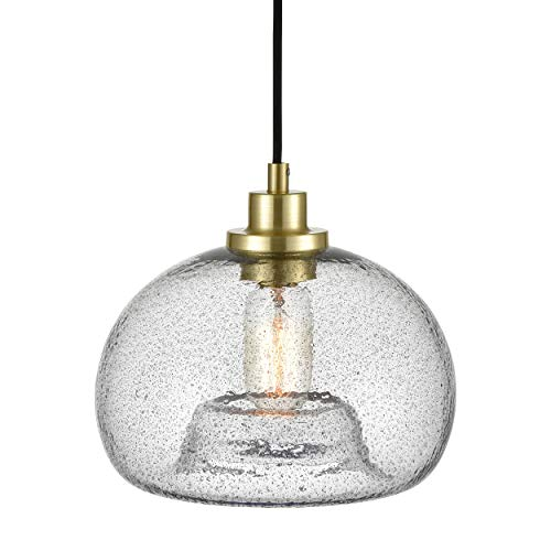 WILDSOUL Contemporary Glass Pendant Light, LED Compatible Vintage Modern Farmhouse Kitchen Ceiling Lighting Fixture with Bulb, Hand Blown Glass, Adjustable Cord Globe