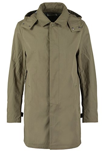 Pier One – Abrigo corto para hombre, liso, color azul marino o verde oliva, con capucha desmontable – chaqueta larga para usar como abrigo de entretiempo: ...