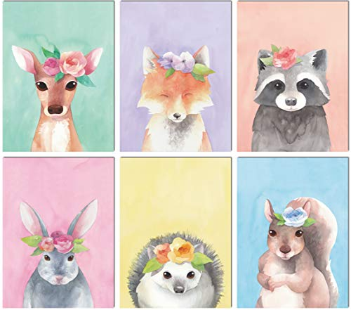 - L & O Goods Woodland Animals Nursery Décor | Baby Boy & Girl Wall Art Watercolor Prints | Set of 6 Posters for Bedroom Decoration | Cute Kids Posters | 8 x 10's