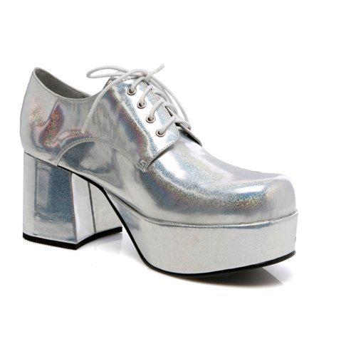 Ellie Shoes Men's 3 Inch Heel Platform Shoe (Silver -
