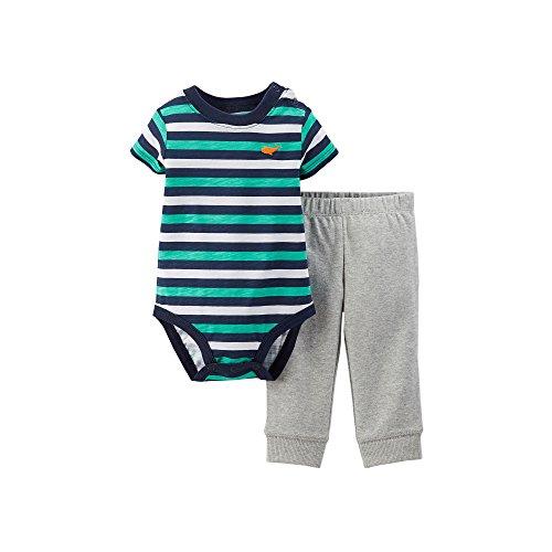Carter's Baby Boys 2pc Striped Bodysuit & Pant Set (nb, Teal/Navy)