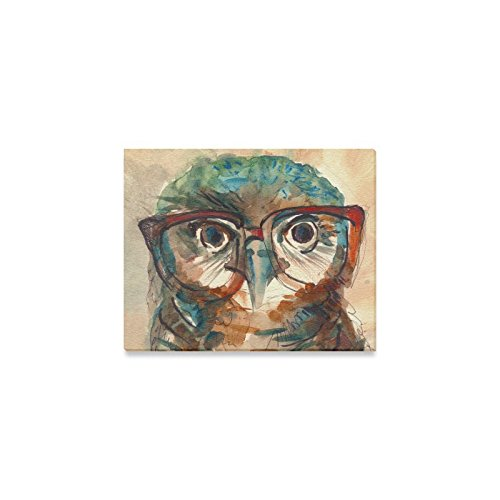 InterestPrint Wise Owl with Big Eyes in Hipster Glasses Canvas Wall Art Print Painting Hanging Artwork Stretched and Gallery Canvas Ready to Hang for Home Office Bar Hotel Decorations 10 X 8 Inches
