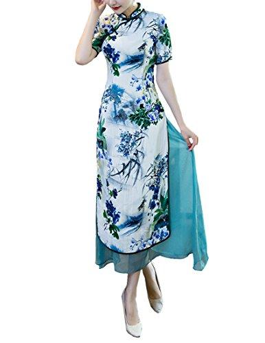 ACVIP Damen Kurze Ärmel Qipao Blumen Drucken Lang Chinesische Dress ...