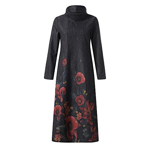 Clearance 2018Christmas Womens Vintage Holiday Paisley Maxi Dress Kaftan Dress,Winter Warm Full Mid-Calf Coat Outwear (Black, XL) ()